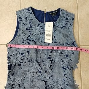 French Connection Dresses - French Connection Manzoni 3D Floral Lace Blue Dres